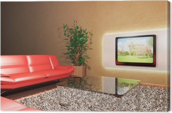Quadro su Tela Soggiorno con divano rosso e televisione • Pixers ...