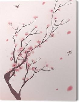Quadro su Tela Stile di pittura orientale, fiore di ciliegio in primavera