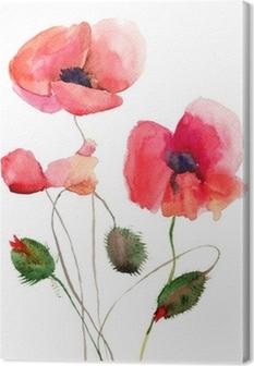 Quadro su Tela Stilizzata papavero fiori illustrazione • Pixers ...