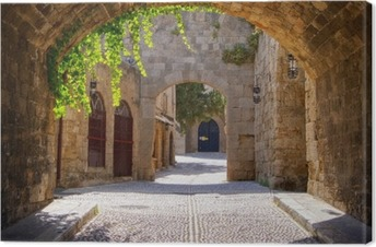 Quadro su Tela Strada ad arco medievale nella città vecchia di Rodi, Grecia