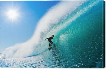 Quadro su Tela Surfer on Blue Ocean Wave