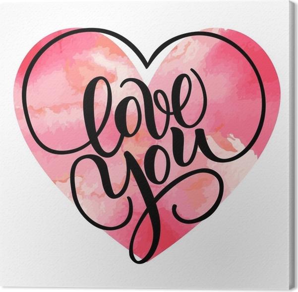 Quadro su Tela Ti amo, scritta a mano pennello lettering con cuori ...