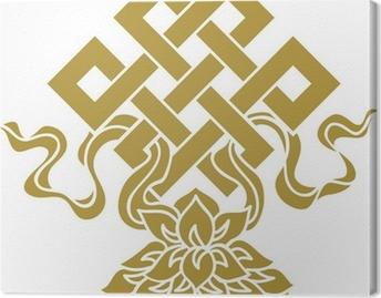 Quadro su Tela Tibetanischer Endlos Knoten, Lotus Schale - Glückssymbol