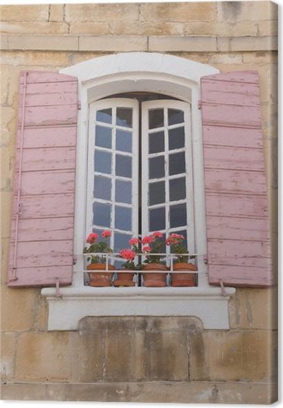 Quadro su tela tradizionale finestra con persiane rosa for Disegno finestra con persiane