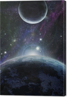 Quadro su Tela Tramonto con due pianeta blu