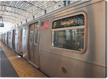 Quadro su Tela Treno della metropolitana al termine della corsa di Coney Island, NY