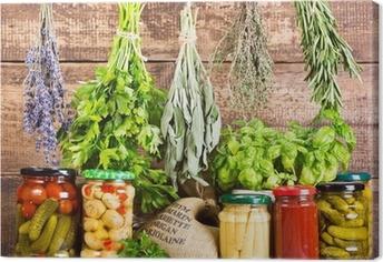 Quadro su Tela Varie erbe fresche e cibo in scatola