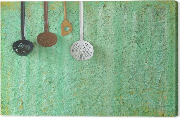 Quadro su Tela Vecchi utensili da cucina, concetto di cucina, spazio ...