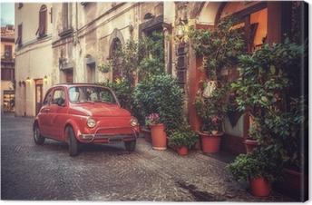 Quadro su Tela Vecchia annata culto auto parcheggiata in strada dal ristorante, in