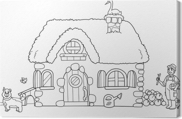 Quadro su tela vecchia fattoria da colorare per bambini for Fattoria immagini da colorare