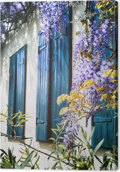 Quadro su tela vecchie finestre con le persiane blu pixers viviamo per il cambiamento - Quadri con finestre ...