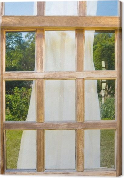 Quadro su Tela Vecchie finestre di legno con drappeggio