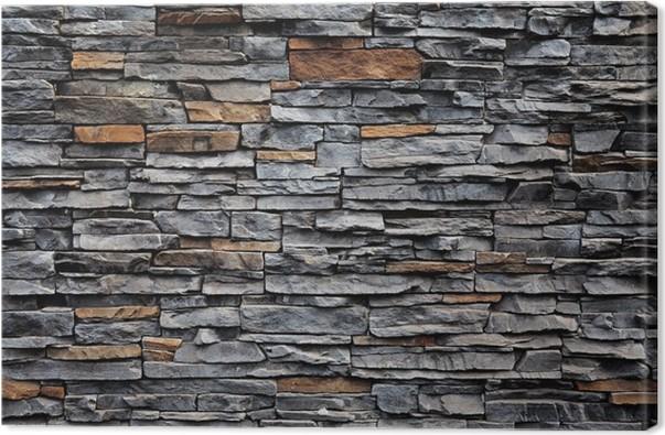 Quadro su tela vecchio muro di mattoni da una pietra pixers viviamo per il cambiamento - Pietra da interno su muro ...