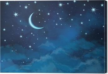 Quadro su Tela Vector night cielo di sfondo stelle e la luna.
