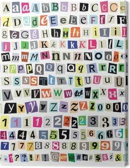 Quadro su Tela Vector Ransom Note-Cut lettere di carta, numeri, simboli