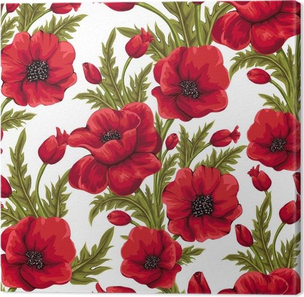 Quadro su Tela Vector seamless con papaveri rossi. sfondo floreale ...
