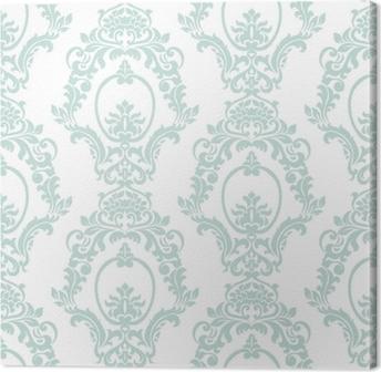 Quadro su Tela Vector vintage damask pattern ornamento stile imperiale. elemento floreale ornato per tessuto, tessile, design, partecipazioni di nozze, biglietti di auguri, carta da parati. colore blu opale
