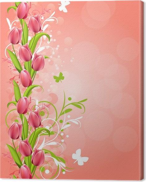Quadro su Tela Verticale sfondo di primavera con tulipani rosa e ...