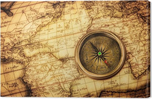 Quadro Su Tela Vintage Bussola Si Trova Su Una Mappa Antica Del Mondo.