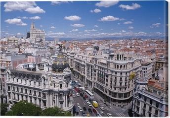 Quadro su Tela Vista della Gran Via di Madrid (Spagna)