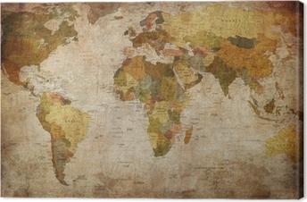 Quadro su Tela World map
