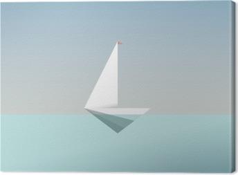 Quadro su Tela Yacht simbolo icona in basso e moderno stile poli. vacanza estiva o vacanza sfondo di viaggio. metafora di affari per la libertà e il successo.