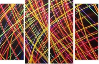 Quadríptico Arte Moderna. textura de luzes de néon de longa exposição.