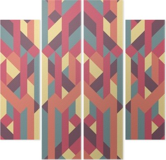 abstract retro geometric pattern Quadriptych