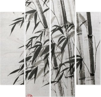 bamboo is a symbol of longevity and prosperity Quadriptych