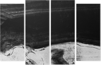 Black and white hand painted background texture with grunge brush strokes Quadriptych
