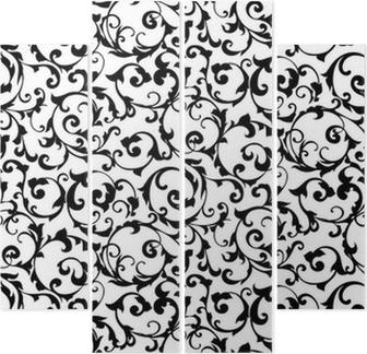 Black seamless pattern,silhouette Quadriptych