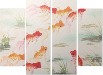 Chinese goldfish painting Quadriptych