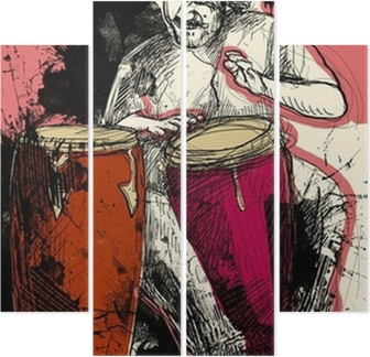 conga player - a hand drawn grunge illustration Quadriptych