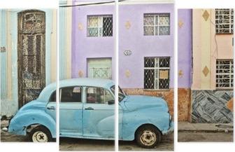 Cuba, La Habana, Broken Down Vintage Car Quadriptych