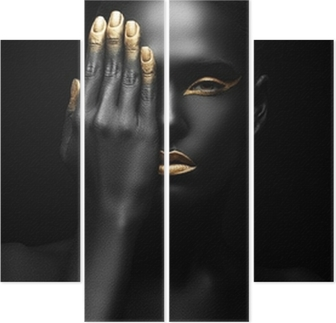 dark-skinned woman with golden make-up. Quadriptych
