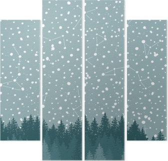 Forest and Night sky with stars vector background. Space backdrop. Quadriptych