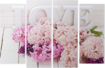 Fresh flowers and word love Quadriptych