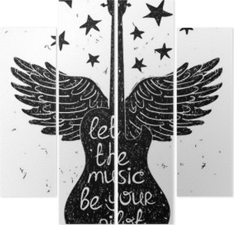 Hand drawn musical illustration with silhouettes of guitar. Quadriptych