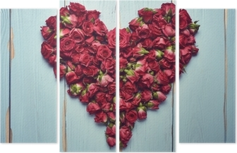 Heart shape of roses on wooden background Quadriptych