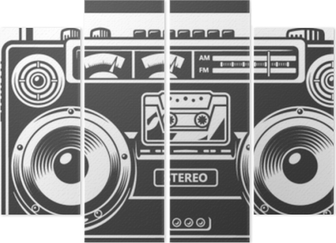 Retro outdated recorder Quadriptych