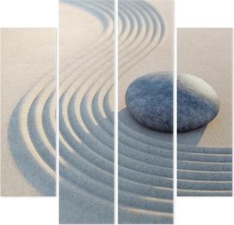 Stein und Wellen im Sand Hochformat Quadriptych
