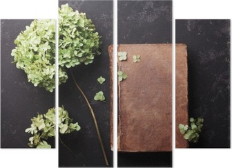 Still life with old book and dried flowers hydrangea on black vintage table top view. Flat lay styling. Quadriptych