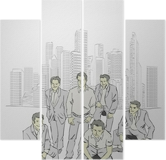 Template with business people in front of a city