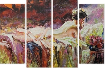 The naked girl laying on a bed Quadriptych