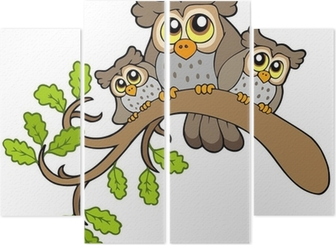 Silhouette of three owls on branch Wall Mural • Pixers® - We
