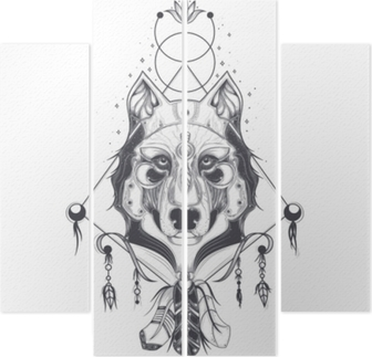 af2eab455 Vector illustration of a front view of a wolf head, geometric sketch of a  tattoo, print. Abstract ethnic tribal pattern. Poster • Pixers® - We live  to ...