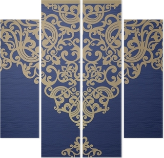 Vector seamless border in Victorian style. Quadriptych