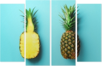 Whole pineapple and half sliced fruit on blue background. Top View. Copy Space. Bright pineapples pattern for minimal style. Pop art design, creative concept Quadriptych