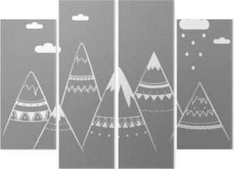 Quadriptychon Bergkinder, Hand gezeichnete Vektorillustration