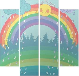 Quadriptychon Bunter Hintergrund mit einem Regenbogen, regen, Sonne im Cartoon-Stil